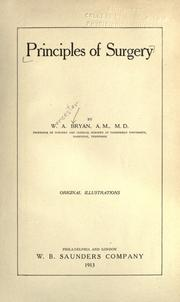 Cover of: Principles of surgery | Worcester Allen Bryan