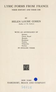 Cover of: Lyric forms from France by Cohen, Helen Louise
