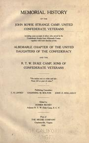 Cover of: Memorial history of the John Bowie Strange Camp, United Confederate Veterans | Homer Richey