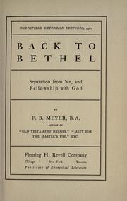 Cover of: Back to Bethel | Meyer, F. B.