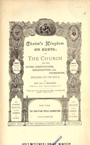 Cover of: Christ's Kingdom On Earth by Meagher, Jas. L. (James Luke), 1848-1920