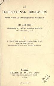 Cover of: On professional education | T. Clifford Allbutt