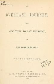 Cover of: An overland journey | Greeley, Horace