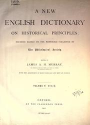 Cover of: A new English dictionary on historical principles (vol 5, pt 1) by James Augustus Henry Murray