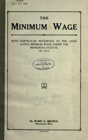 Cover of: The minimum wage | Rome G. Brown