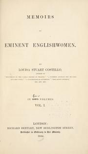 Cover of: Memoirs of eminent Englishwomen | Costello, Louisa Stuart