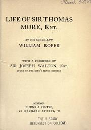 Cover of: The life of Sir Thomas More | William Roper