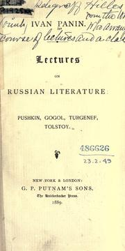 Cover of: Lectures on Russian literature by Ivan Panin