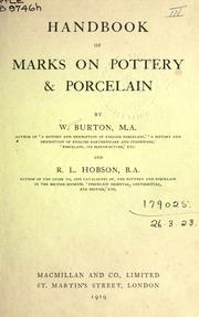Cover of: Handbook of marks on pottery & porcelain | William Burton, R. L. Hobson