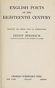 Cover of: English poets of the eighteenth century by Bernbaum, Ernest