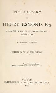 Cover of: History of Henry Esmond, Esq by William Makepeace Thackeray