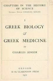 Cover of: Greek biology & Greek medicine | Charles Joseph Singer