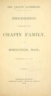 The Chapin genealogy