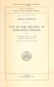 Cover of: Regulations 58 relating to tax on the issuance of insurance policies | United States. Internal Revenue Service.