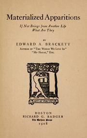 Cover of: Materialized apparitions | Edward Augustus Brackett
