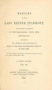 Cover of: Memoirs of the Lady Hester Stanhope | Stanhope, Hester Lucy Lady