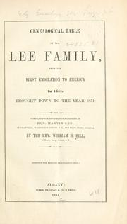 Cover of: Genealogical table of the Lee family | Hill, William Henry
