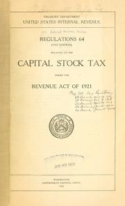 Cover of: Regulations 64 relating to the capital stock tax | United States. Internal Revenue Service.