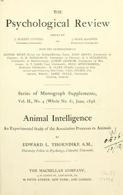 Cover of: Animal intelligence | Thorndike, Edward L.