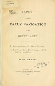 Cover of: Papers concerning early navigation on the Great Lakes | William Hodge