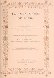 Cover of: Two centuries of song | Thornbury, Walter