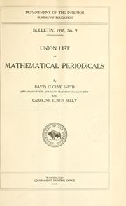 Cover of: Union list of mathematical periodicals | David Eugene Smith
