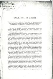 Cover of: Emigration to Liberia | American Colonization Society.