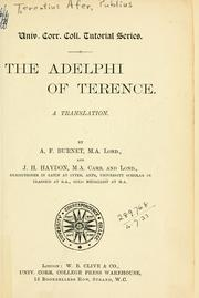 Cover of: The Adelphi of Terence | Publius Terentius Afer