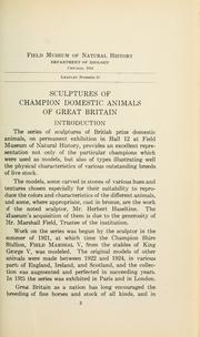 Cover of: Sculptures by Herbert Haseltine of champion domestic animals of Great Britain by Field Museum of Natural History.