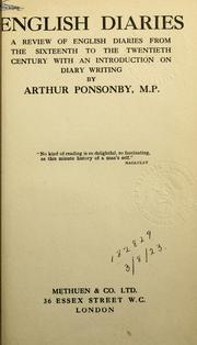 Cover of: English diaries | Ponsonby, Arthur Ponsonby Baron