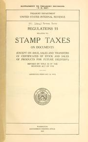 Cover of: Regulations 55 relating to stamp taxes on documents by United States. Internal Revenue Service.