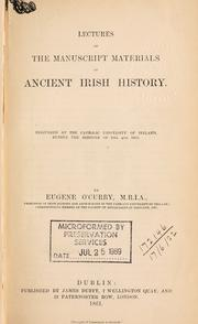 Cover of: Lectures on the manuscript materials of ancient Irish history by Eugene O'Curry