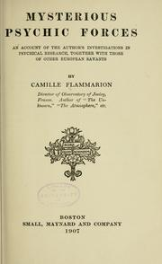 Cover of: Mystrious psychic forces | Camille Flammarion