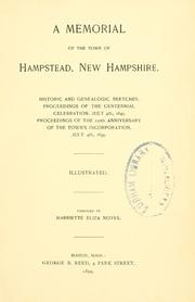 Cover of: A memorial of the town of Hampstead, New Hampshire | Harriette Eliza Noyes