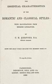 Cover of: The essential characteristics of the romantic and classical styles | C. H. Herford
