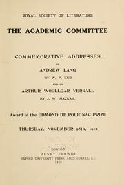 Cover of: Commemorative addresses | Royal Society of Literature (Great Britain). Academic Committee.