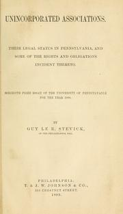 Cover of: Unincorporated associations by Guy le R. Stevick