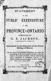 Cover of: Statement of the public expenditure of the province of Ontario by G. E. Jackson