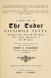 Cover of: A hand-list to the Tudor facsimile texts | Farmer, John Stephen