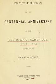 Cover of: Proceedings of the centennial anniversary of the old town of Cambridge by Cambridge (N.Y.)