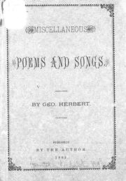 Cover of: Miscellaneous poems and songs | Geo Herbert