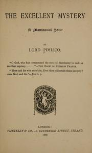 Cover of: The excellent mystery by Pimlico Lord.