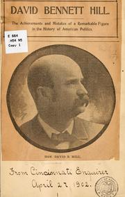Cover of: David Bennet Hill...[Clipping from the Cincinnati Enquirer, April 27, 1902] | Eugene William] Newman