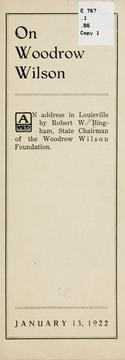 Cover of: On Woodrow Wilson by Robert Worth Bingham