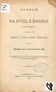 Cover of: Speech of Gen | Lovell Harrison Rousseau