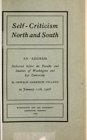Cover of: Self-criticism North and South | Villard, Oswald Garrison