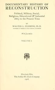 Cover of: Documentary history of reconstruction | Fleming, Walter Lynwood