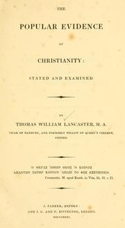Cover of: The popular evidence of Christianity | Lancaster, Thomas William.