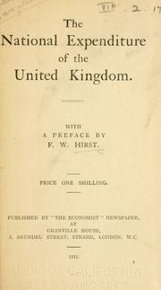 Cover of: The national expenditure of the United Kingdom by Francis Wrigley Hirst