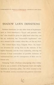 Cover of: Shadow Lawn definitions | C. L. Pack